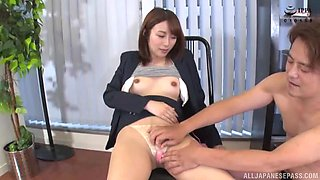 Small boobs Japanese girl spreads her legs to ride a fat dick