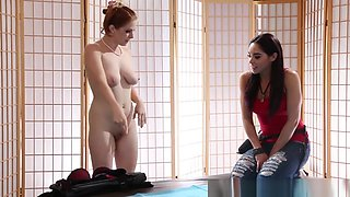 Glamour Redhead Pussylicked After Massage