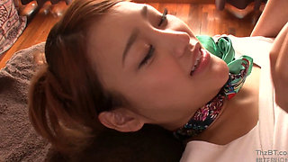 Asian babe giving a messy blowjob