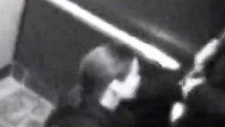 British Girl Swallows bf's cum in elevator cctv footage