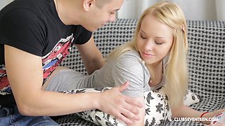 Blonde teen babe in socks Lola Taylor swallows cum after a ride