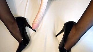 Alysha s dildo play in stockings   high heels