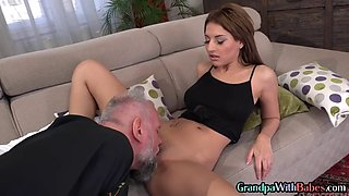 Babe sucks old man before oral and fuck