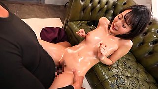 Charming Asian babe gets oiled up and pumped full of cock