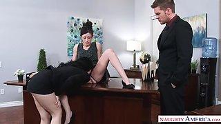 angry boss fucks two pale secretaries jennifer white and noelle easton in office