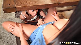 Lesbian sex in the kitchen and shower - Ember Snow and Luna Star