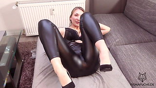Blonde girl get fucked in leather tights - Fiona Fuchs
