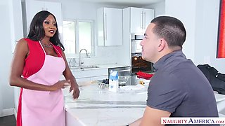 Diamond jackson fucking in the kitchen with her tits
