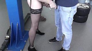 Crossdresser forced to suck cock