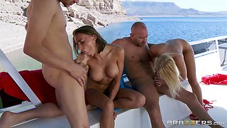 Enchanting babes getting screwed hardcore doggystyle in foursome sex outdoor