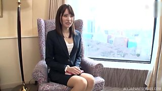 Cute Japanese secretary sucks cock and fucked doggy at a job interview