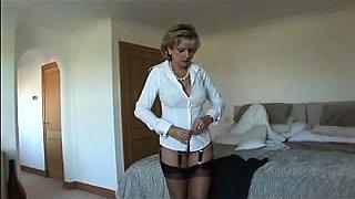 British pornstar Loz Lorrimar secretary play in stockings