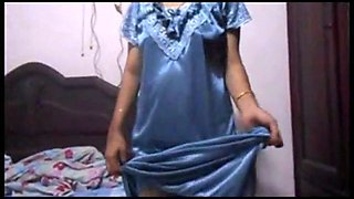 Indian Housewife In blue Nighty