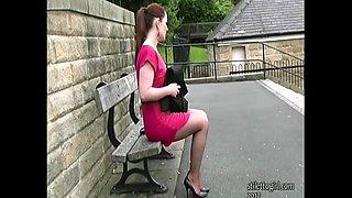Curvy brunette stiletto girl Sara teasing and walking in nylons stiletto heels