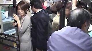 Horny brunette give B J & handjob on bus