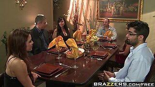 Brazzers - Real Wife Stories - Winner Winner Sex during Dinner scene starring Lisa Ann and Mick Blue