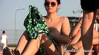 Beach voyeur films breast