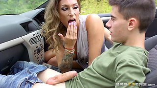 cock-loving milf ava austen deepthroats young cock in the cabrio