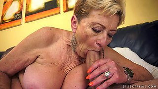 Aroused granny Malya sucks hard dick with extreme passion