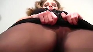 Petite Tits Chick Makes Show In Black Pantyhose
