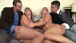 horny ladies are fucked silly by two dudes in a foursome