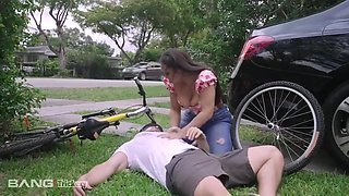 Busty Housewife Accidentally Hits A Pedestrian On A Bike