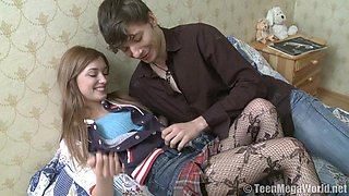 Slim Russian honey Juliya C gets her tight twat drilled with fervor