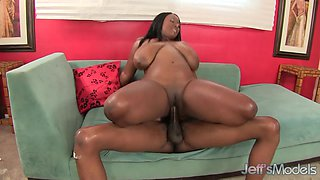 Huge Tits Ebony BBW Marie Leone Oiled and Pounded by Black Cock