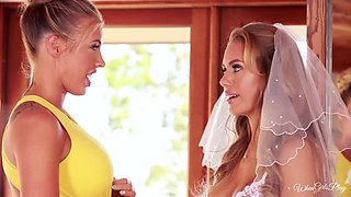 Busty blond beauty pleasures whorish sexy bride with steamy cunnilingus
