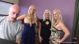 Platinum Blond Trio of Cougars Have Full-on Orgy!