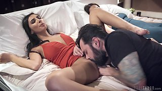 Sweet young woman fucks her mature lover in front of his sleeping wife