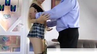 Old man seducing blonde school girl