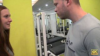HUNT4K. Buddy earns a lot of cash by selling GFs tight pussy in gym