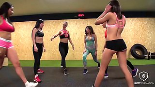 booty workout compilation with a whole squad of porn stars in leggings and yoga pants