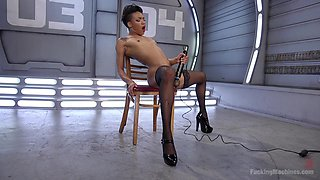 Small tits petite girl Nikki Darling pleasures herself with a vibrator