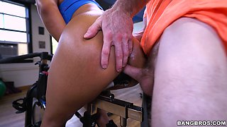 Interracial fucking after working out with sexy Latina Rose Monroe