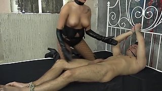 Sweet Femdom with blonde mistress and her slave