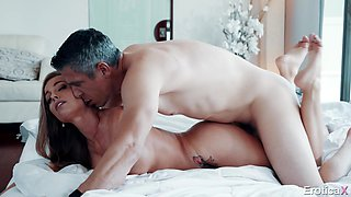 Romantic fucking on the bed after a morning blowjob by Britney Amber