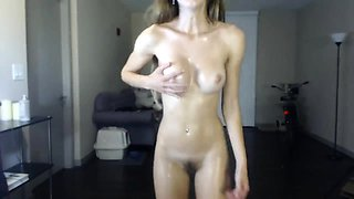 Pierced nipples toying her pussy
