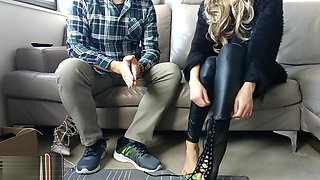 HandJoy * Goddess Hira gives an amazing Footjob to a shoe salesman