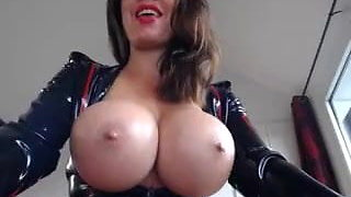 Latex Busty Brunette Toys2