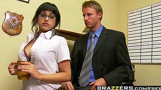 Slutty secretary Abella Anderson gets pounded over the desk Brazzers