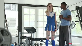 Slim cheerleader Haley Reed gets her pussy blacked for the first time