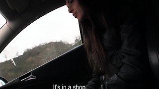 Hitchhiking czech teen riding backseat cock