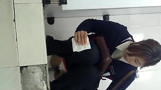 Japanese woman spied in public toilet pissing