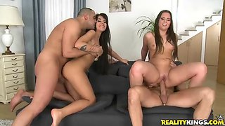 Nasty sluts after their foursome cum swap man juices