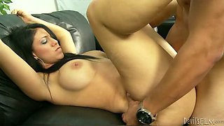Brunette Uses Her Gazongas To Get Herself Cock
