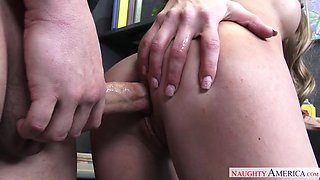 long haired babe shawna lenee bends over the desk and gets drilled