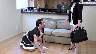 Sissy maid eats cum