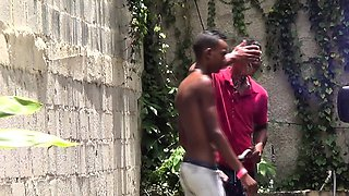 Outdoor assfucked african facialized